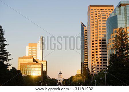 The sun lights up glass on the downtown Sacramento Skyline