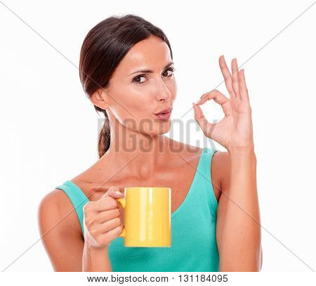 Pouting Brunette Woman With Coffee Mug