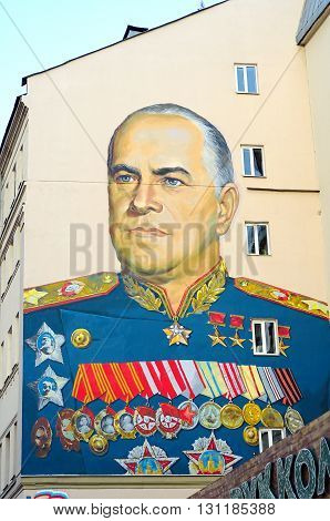 MOSCOW, RUSSIA - May 23, 2016: Portrait Marshal Zhukov in building on Arbat. Zhukov, the great Soviet military leader who freed Europe from fascism. Soviet troops under his command took the Reichstag.
