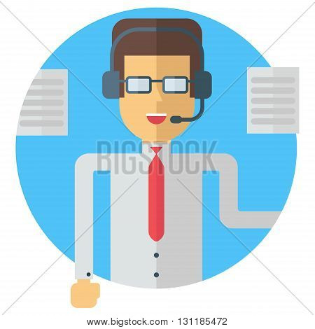 A businessman in wireless headphones making speech. Stage speech callcenter documents business. support manager. Colored flat vector illustration