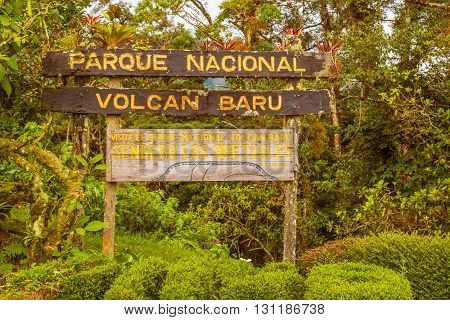 Volcan Baru National Park Sign In Panama.