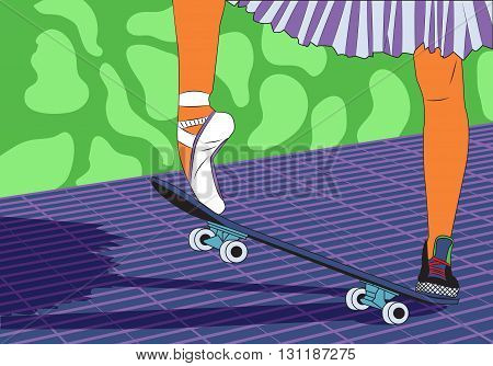 The legs of a ballerina on a skateboard. Feet shod in sneakers and ballet shoes. Modern fashion. Pop art style. Vector illustration