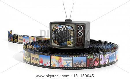 Antique TV set and film strip, isolated on white background. 3D rendering