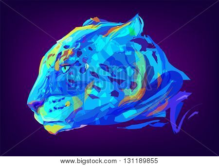 The jaguar head on black background. Retro design graphic element. This is illustration ideal for a mascot and tattoo or T-shirt graphic. Stock illustration