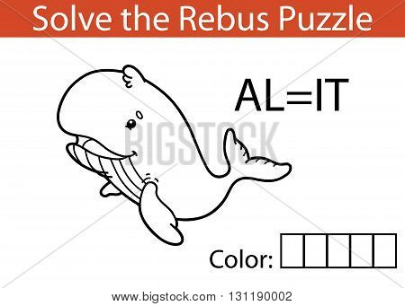 Vector illustration of rebus puzzle educational game for children