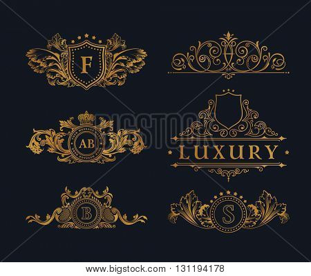 Vintage gold logo Elements. Flourishes Calligraphic Ornament. Elegant emblem monogram luxury logo. Floral royal line logo design. Vector sign, logo restaurant boutique, heraldic fashion, cafe hotel