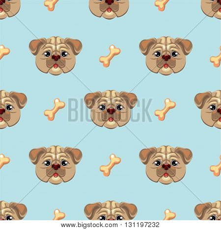 hand drawn vector illustration of dog head on a blue background