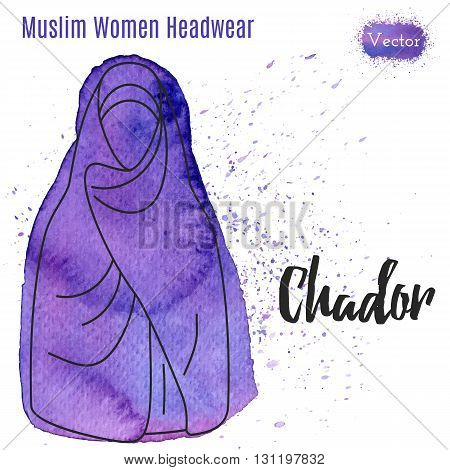 Muslim woman headgear. Chador in outline style on abstract watercolor blot with splashes. Muslim traditional female headgear isolated on a white background. Muslim woman in chador. Vector illustration
