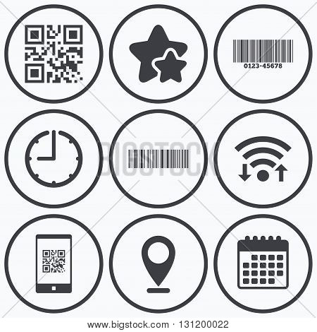 Clock, wifi and stars icons. Bar and Qr code icons. Scan barcode in smartphone symbols. Calendar symbol.