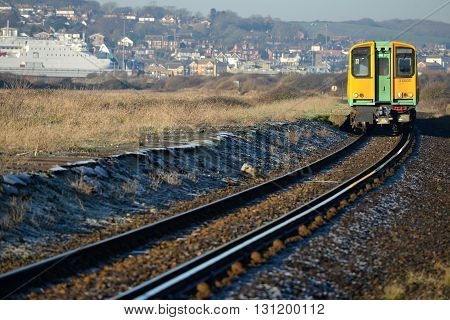 Passanger train on single track uk. a