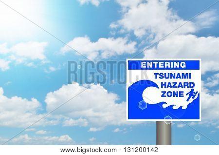 Tsunami Sign On Blur Tropical Beach Abstract