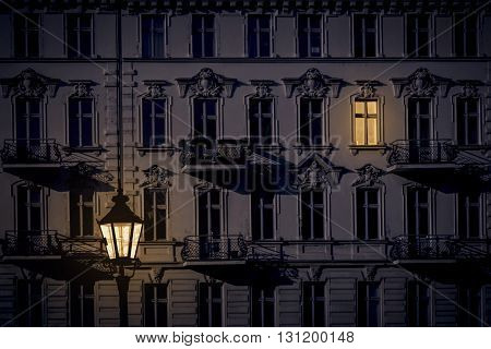 night shot of a beautiful old house in Kreuzberg Berlin