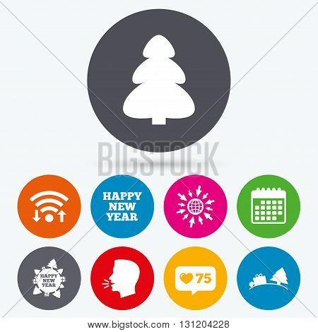 Wifi, like counter and calendar icons. Happy new year icon. Christmas trees signs. World globe symbol. Human talk, go to web.