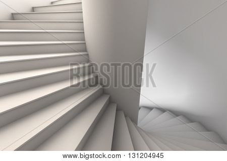 3D Illustration of a white spiral staircase with wide steps rotating down from upper left to lower right.  Viewpoint looking slightly down.