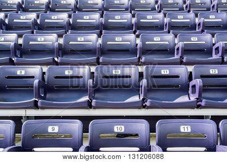 Purple Stadium Seats Straight On with numbers