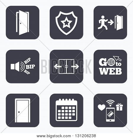 Mobile payments, wifi and calendar icons. Automatic door icon. Emergency exit with human figure and arrow symbols. Fire exit signs. Go to web symbol.