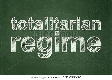 Politics concept: text Totalitarian Regime on Green chalkboard background