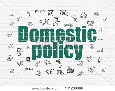 Politics concept: Painted green text Domestic Policy on White Brick wall background with  Hand Drawn Politics Icons