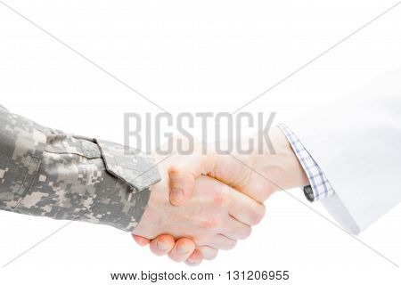 Doctor And Military Man Shaking Hands On White Background