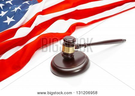 Wooden Judge Gavel Near Flag Of Unites States Of America - Closeup Shoot