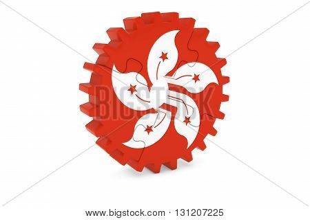 Hong Kongese Industry Concept - Flag Of Hong Kong 3D Cog Wheel Puzzle Illustration
