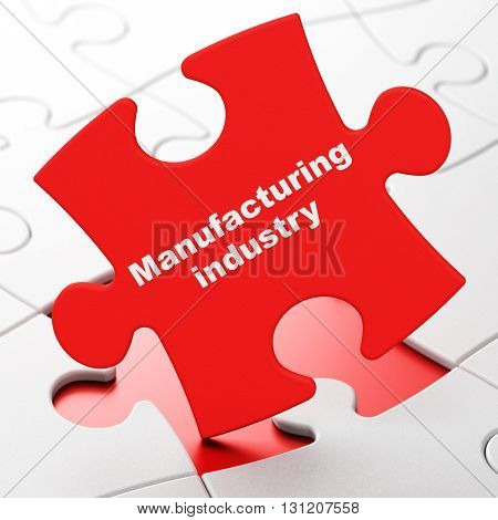 Manufacuring concept: Manufacturing Industry on Red puzzle pieces background, 3D rendering