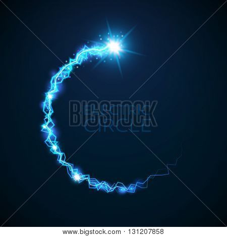 Vector blue electric circle. Magic effect illustration. Bright light bolts and stars on dark background