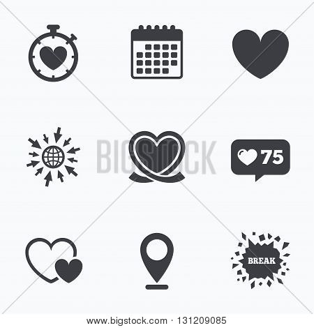 Calendar, like counter and go to web icons. Heart ribbon icon. Timer stopwatch symbol. Love and Heartbeat palpitation signs. Location pointer.