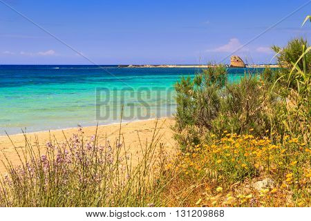 The most beautiful sandy beaches of Apulia. Salento coast: Torre Pali beach (Lecce). ITALY (Apulia).Torre Pali is name comes from the sixteenth-century watchtower.