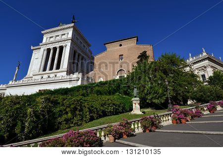 Vittoriano and Santa Maria in Aracoeli church two of the most important monuments on Capitoline Hill in Rome