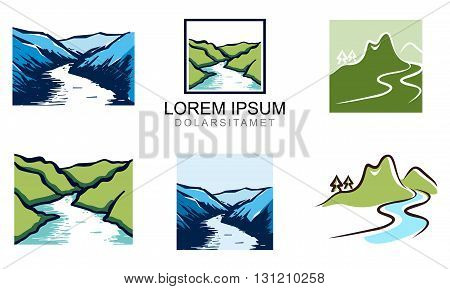 Illustration of Elegant Valley River Logo Template