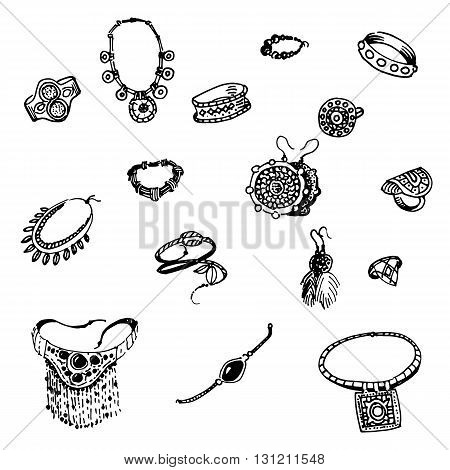 Vector illustration of a variety of decorations. Doodle bijouterie. On an isolated white background. Jewelry hand-drawn.