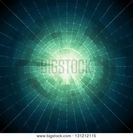 Abstract Blue and Green Vector Mesh on Colorful Background - Futuristic UX Background - Elegant Background for Business Presentations