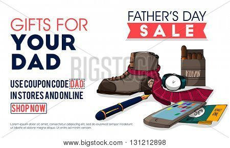 Father's Day Sale, Sale Poster, Sale Banner, Sale Flyer, Online Sale, Sale Background, Vector illustration with various accessories.