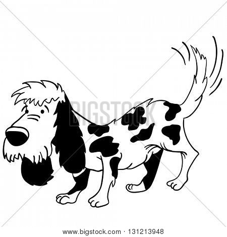 black and white dog cartoon illustration