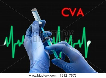 Treatment of CVA (stroke). Syringe is filled with injection. Syringe and vaccine. Medical concept.