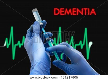 Treatment of dementia. Syringe is filled with injection. Syringe and vaccine. Medical concept.
