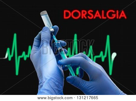 Treatment of dorsalgia. Syringe is filled with injection. Syringe and vaccine. Medical concept.