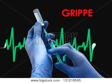 Treatment of grippe. Syringe is filled with injection. Syringe and vaccine. Medical concept.