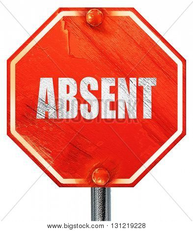 absent, 3D rendering, a red stop sign