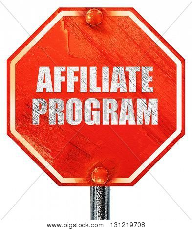 affiliate program, 3D rendering, a red stop sign