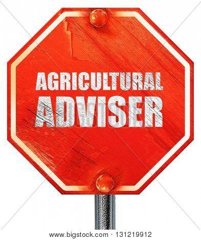 agricultural adviser, 3D rendering, a red stop sign