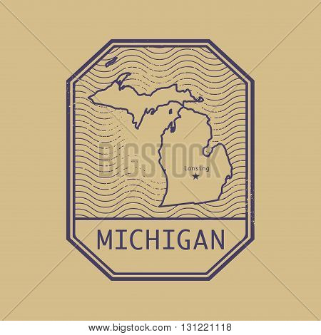 Stamp with the name and map of Michigan, United States, vector illustration