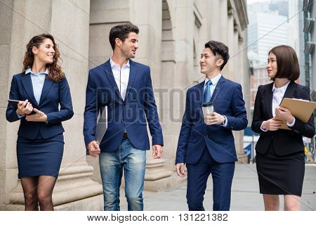 International business people walking at outdoor