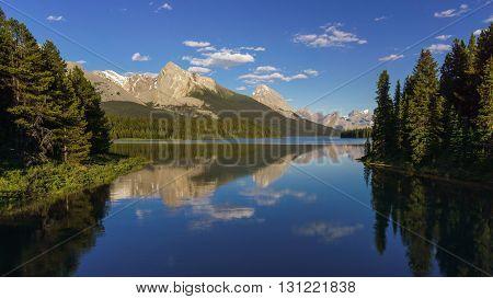 Mountains at Maligne Lake near Jasper Alberta Canada