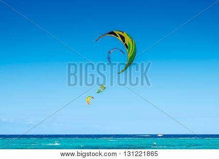 kite sails at strong wind at Bulabog beach, one of the most sought-after spots for kiteboarding and windsurfing at Boracay island, Philippines.