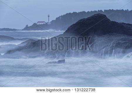 Lennard Island Lighthouse near Tofino British Columbia Canada
