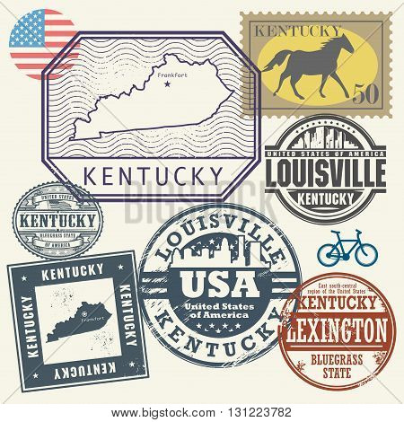 Stamp set with the name and map of Kentucky, United States, vector illustration