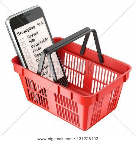 Mobile with shopping list in red shopping basket - 3D illustration