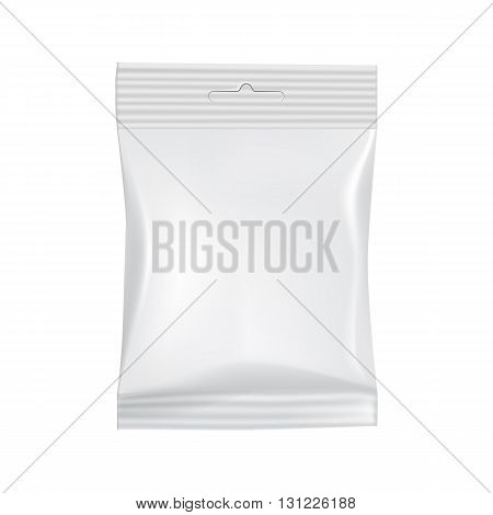 Blank food bag packaging. 3d realistic food package. Vector packaging. Sachet for food. Packaging ready for design. Isolated foil bag, blank food packaging. Foil bag for chips, coffee, sachet, cookies, sweet. Packaging mockup. Packaging template. Food bag